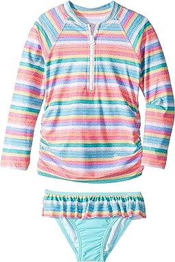 Seafolly Kids - Candy Pop Stripe Long Sleeve Rashie Set (Toddler/Little Kids)