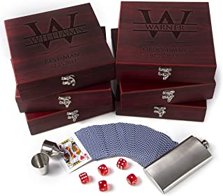 Set of 6 - Premium Groomsmen Gifts for Wedding, Personalized Flask Set + Playing Card, Dice  Rosewood Finish Flask Gift Set - Groomsman Gift, Customized Groomsman Flasks,Wedding Favors