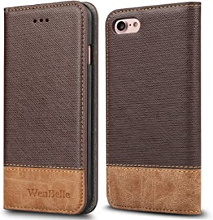 WenBelle for iPhone 7/iPhone 8/iPhone SE (2020 Edition) Case, Stand Feature,Premium Soft PU Color Matching Leather Wallet Cover Flip Cases for Apple iPhone 7/8/SE 2nd Generation 4.7 Inch (Brown)