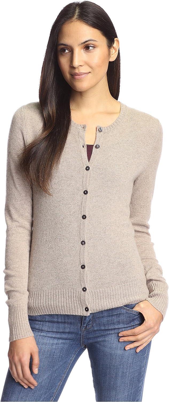 Cashmere Addiction Women's Crewneck Cardigan Sweater