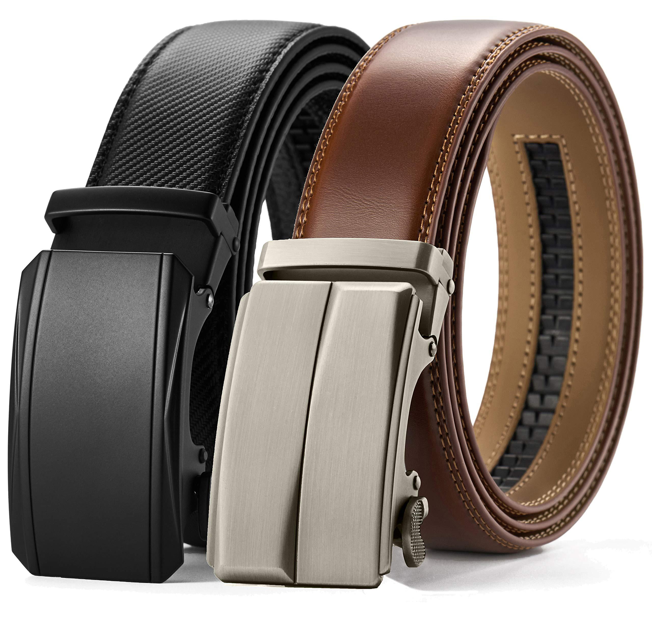 CHAOREN Leather Ratchet Belt Gift Set 1 3/8, Mens Belt Dress with Automatic  Buckle, Adjustable Trim to Fit- Buy Online in Pakistan at desertcart.pk.  ProductId : 127108214.