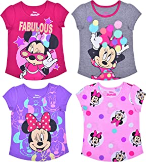Disney Girl's Minnie Mouse 4 Pack Short Sleeves Tee Shirt Set, Fashionable Bundle for Kids