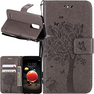 LG Aristo 2 (X210) / Tribute Dynasty/Rebel 3 LTE/Risio 3 / Zone 4 / Fortune 2 / K8 (2018) / K8 Plus (2018) Case, Lacass PU Leather Wallet Case with Kickstand and Card Slots - Gray