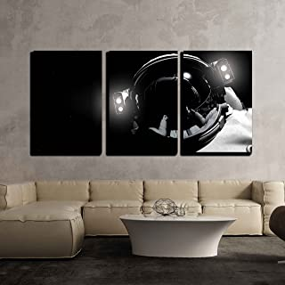 wall26 - 3 Piece Canvas Wall Art - The Astronaut in Outer Space - Modern Home Decor Stretched and Framed Ready to Hang - 24