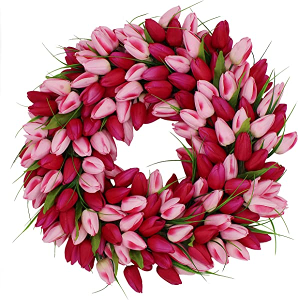 The Wreath Depot Pink Medley Tulip Wreath 19 Inch