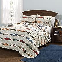 Lush Decor Race Cars 3 Piece Reversible Quilt Bedding Set, Full/Queen, Blue/Orange