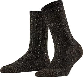 FALKE Socken Shiny Rib Baumwolle Damen schwarz grau viele weitere Farben verstärkte Damensocken ohne Muster atmungsaktiv dünn einfarbig gerippt und mit Glitzer 1 Paar