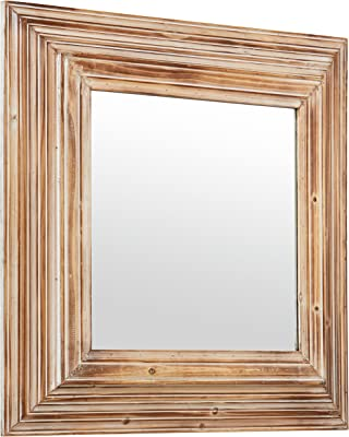 Amazon Brand – Stone & Beam Vintage-Look Square Hanging Wall Mirror, 39.5 Inch Height, Tan and White