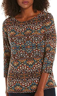 Rafaella Petite Solid Embellished Boat Neck Top Small Petite Red