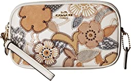 Crossbody Clutch With Patchwork Tea Rose And Snakeskin Detail