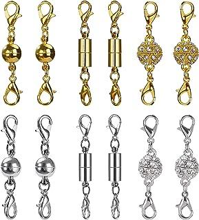 MagiDeal 5pcs Fermoirs Magn/étiques en Strass Homard Fermoirs pour Bijoux Collier Bracelet 8mm argent
