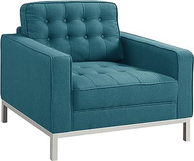 Iconic Home Straight Leg Club Chair, Blue