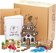 Fairy Garden Accessories Kit - Miniature House and Figurine Set for Girls, Boys, Adults - With Magical Glow in the Dark Pebbles and Solar LED Lights