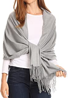 1746 - Iris Warm Super Soft Cashmere Feel Pashmina Shawl/Scarf with Fringes - Light Grey - OS