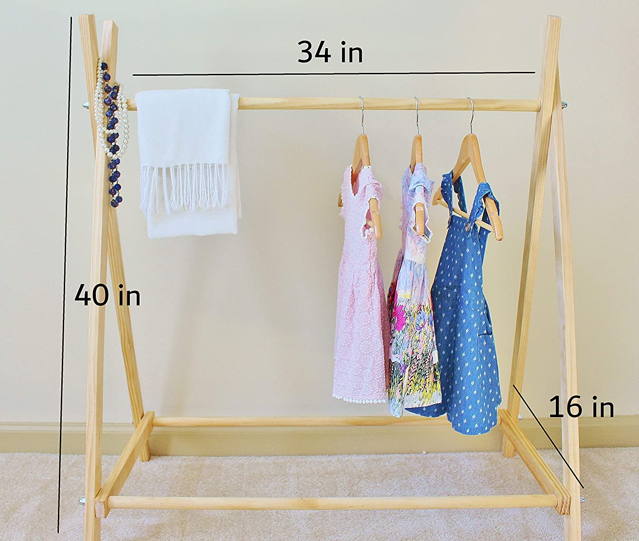 Clothing Rack, Nursery Decor, Dress Up Station, Kids Clothing Storage, FOLDS UP For Easy Storage, 40x38 in Tall Wooden Clothes A Frame Rack