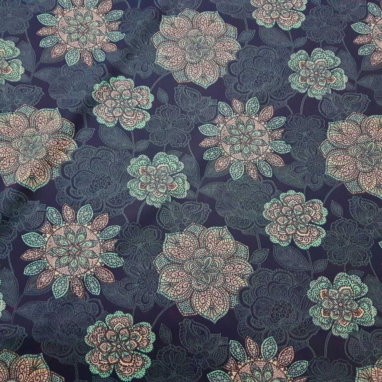 Werthers Stoffe Plástico algodón Metro Indigo Petrol Blanco Mandala Tela Decorativa Floral: Amazon.es: Juguetes y juegos