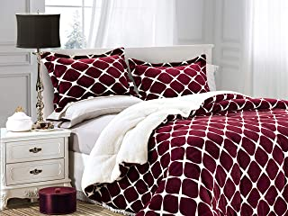 Elegant Comfort Softest, Coziest Premium Quality Heavy Weight Pattern Micromink Sherpa-Backing Reversible Down Alternative Micro-Suede 2-Piece Comforter Set, Twin, Bloomingdale Burgundy