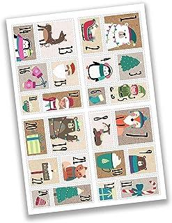 Papierdrachen 24 kalendarz adwentowy naklejki świąteczne - stempel miś nr 49 - naklejki - do majsterkowania i ozdabiania.