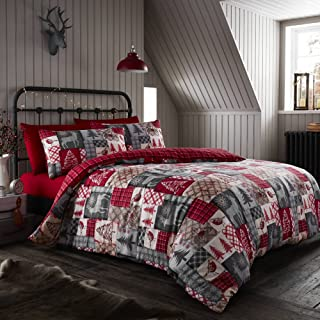 Happy Linen Company Christmas Patchwork Red UK Double/US Full Reversible Duvet Cover Bedding Set