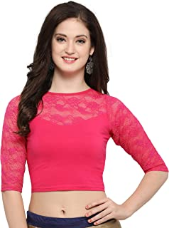 Janasya Indian Readymade Cotton Lycra Saree Blouse for Women (BL019-71PINK)