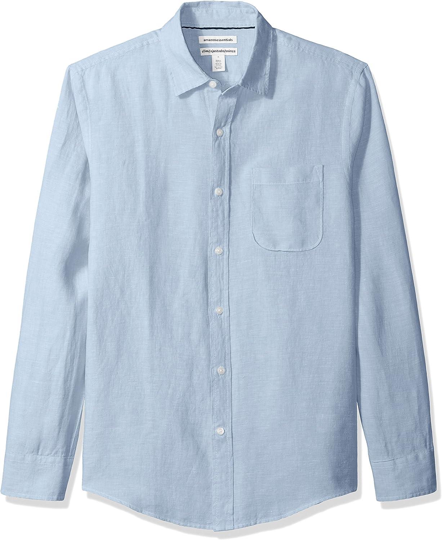 Amazon Essentials New popularity safety Men's Slim-Fit Linen Shirt Long-Sleeve