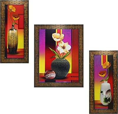 Indianara Set of 3 Floral Paintings (1682) Without Glass 5.2 X 12.5, 9.5 X 12.5, 5.2 X 12.5 INCH