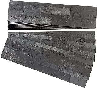 Aspect Peel and Stick Stone Overlay Kitchen Backsplash - Charcoal Slate (Approx. 15 sq ft Kit) - Easy DIY Tile Backsplash