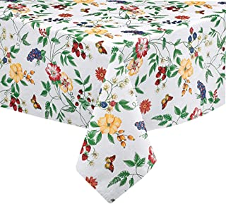 """English Berry Garden Heavy 4 Gauge Vinyl Flannel Backed Tablecloth, Strawberry Garden Floral Indoor/Outdoor Wipe Clean Picnic, Kitchen, Dining Room Tablecloth - 60"""" x 84"""" Oval"""
