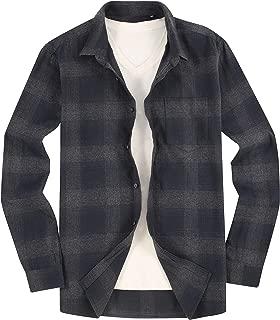 Men's Flannel Shirts Long Sleeve Slim Fit Button Down Plaid Cotton Brushed Shirt