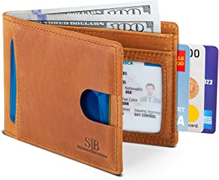 serman brands RFID Blocking Bifold Slim Leather Brown Men's Wallet