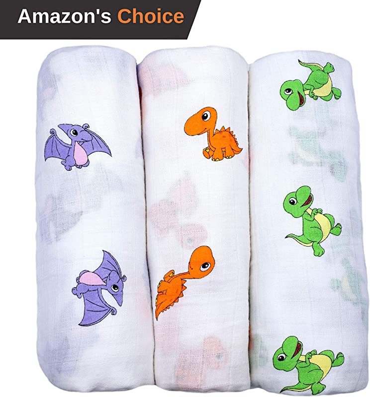 Baby Swaddle Blanket Premium 100 Organic Cotton Muslin Soft Breathable Swaddle Wrap For Infant To Toddler Dinosaurs Blankets Boy Girl Unisex Neutral Color Receiving Newborn Baby Shower Gift