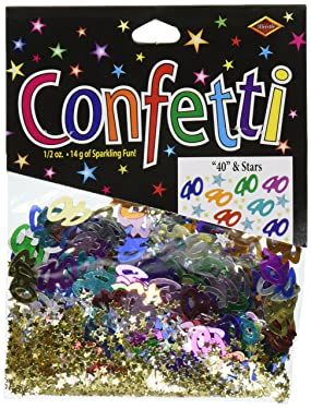 Beistle 40 & Stars Confetti Birthday Party Supplies, Tableware Decorations, 0.5 Ounces, Multicolored