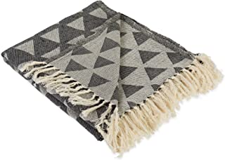 DII Decorative Woven Throw with Fringe, Black Triangle