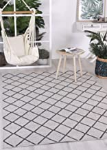 Home Culture Courtyard Diamond Indoor/Outdoor Beige Rug-Durable Rugs for Bedroom, Living Room, High Traffic Areas of Home ...