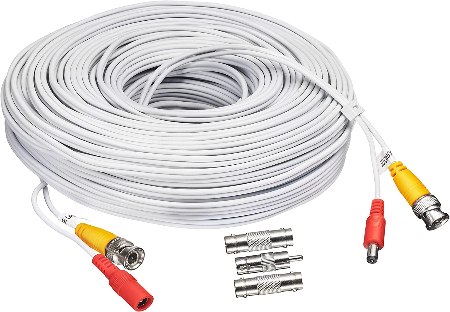 BNC CCTV DVR Cable Video Surveillance Security System Camera Coaxial Wire Cord Connector (150') Premade All-in-One with Power Cord - 150 feet
