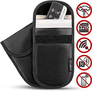 Black Aileder Faraday Bag Car Key Signal Blocker Pouch Keyless Entry Key Fob RFID Signal Blocking Car Key Case Holder Leather Smart Key Protector Bag