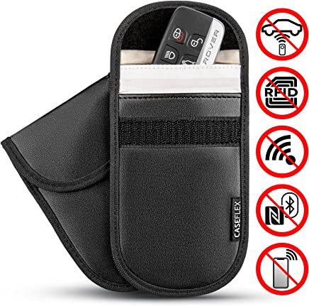 Caseflex Car Key Signal Blocker Pouch, Pack of 2 RFID Blocking Faraday Bag Pouches for Keyless Car Theft Prevention | Signal Blocking Wallet for Car Keys & Credit Cards - PU Leather Case - Black