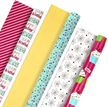 Hallmark Reversible Birthday Wrapping Paper, Flowers and Cupcakes (Pack of 3, 120 sq. ft. ttl.)