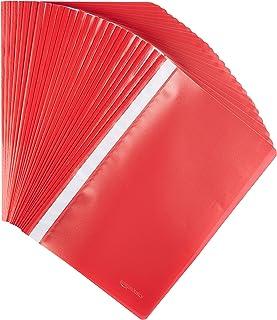 Amazon Basics - Cartelline A4, confezione da 25 pezzi, rosso
