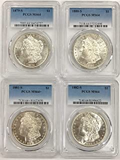 1879 S 1880 S & 1881 S & 1882 S Morgan SILVER Dollar Lot of (4) PCGS Mint State 64 Coins $1 PCGS Mint State 64