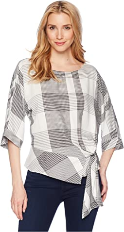 Vince Camuto Oversized Plaid Dolman Sleeve Side Tie Blouse