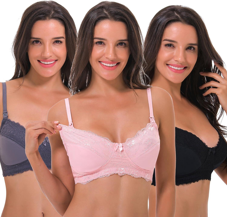 Curve Muse Women's Nursing Plus Size Wirefree Unlined Maternity Lace Trim Bra