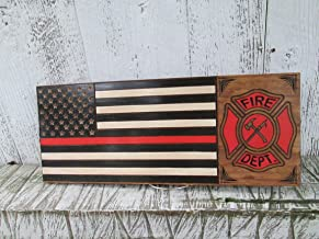 Thin Red Line Fire Fighters Flag, Custom Carved Wooden Sign, Personalized Fireman Sign, FLAG105