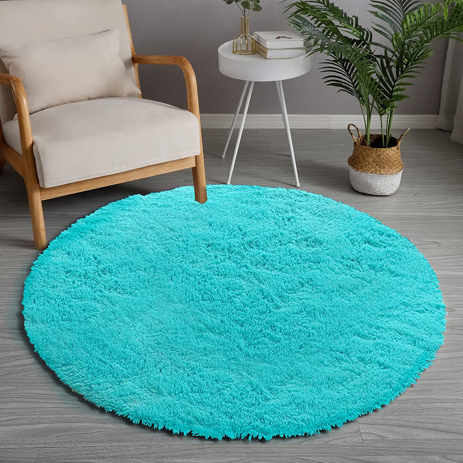 GKLUCKIN Shag Ultra Soft Area Rug Blue Round Teal Ranking TOP18 5' low-pricing Fluffy