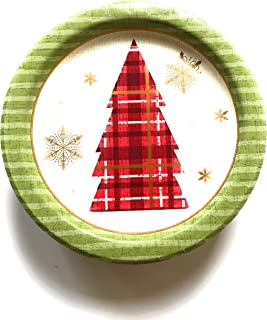 Small Christmas Paper Plates and Napkins - 50 Small Round Christmas Tree Plates (Small Plates Only)