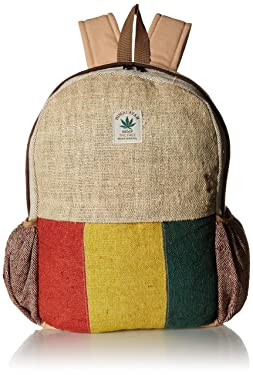 Nepali Handmade Pure Hemp Rasta Backpack with Laptop Sleeve - Fashion Cute Travel School College Shoulder Bag/Bookbags/Daypack