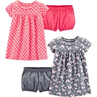 Baby and Toddler Girls' 2-Pack Short-Sleeve and Sleeveless Dress Sets