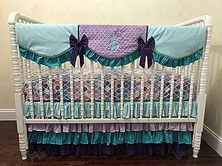 Mermaid Nursery Bedding, 1-5 Piece Baby Girl Crib Bedding Set Arielle, Aqua, Lavender, Teal, and Purple Mermaid Crib Bedding - Choose Your Pieces