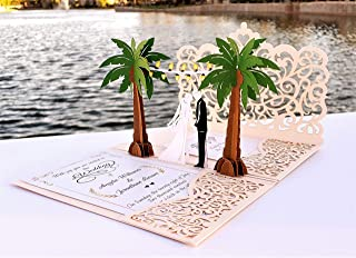 Pop up Wedding Invitation Pocket-Folds with Envelope. Unique and Elegant Laser Cut 3D Design by Tada Cards (Rose Gold Palms 10-Pack)