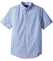 Polo Ralph Lauren Kids - Yarn-Dyed Poplin Short Sleeve Button Down Shirt (Big Kids)